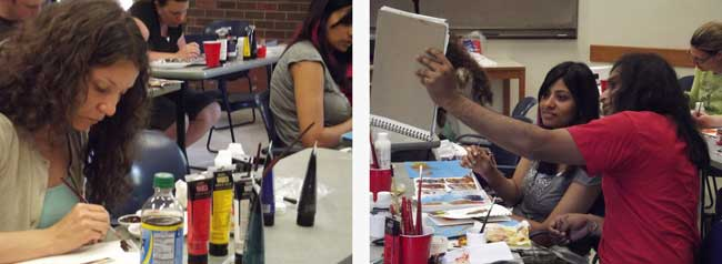 Students painting in art classes Seattle