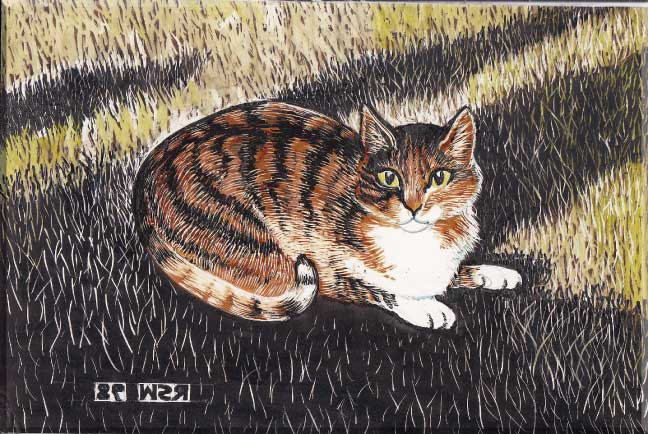 Medium: colored inks and watercolor on scratchboard
