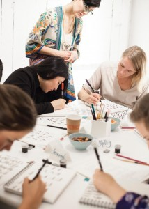 more students learning calligraphy