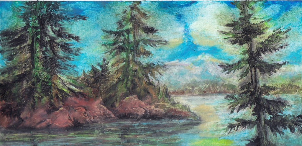 oil pastel lake and trees1